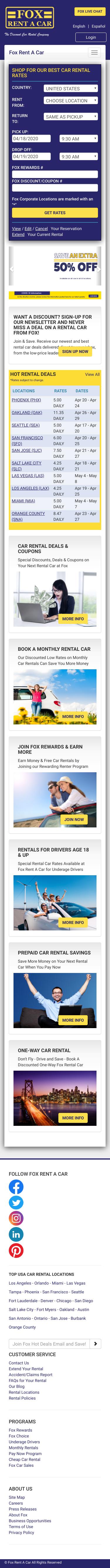 Fox Rent-a-Car Coupon
