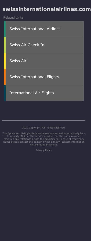Swiss International Air Lines Coupon