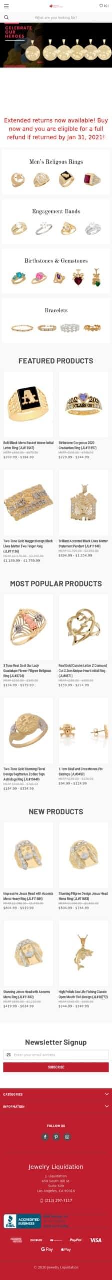 Jewelry Liquidation Coupon